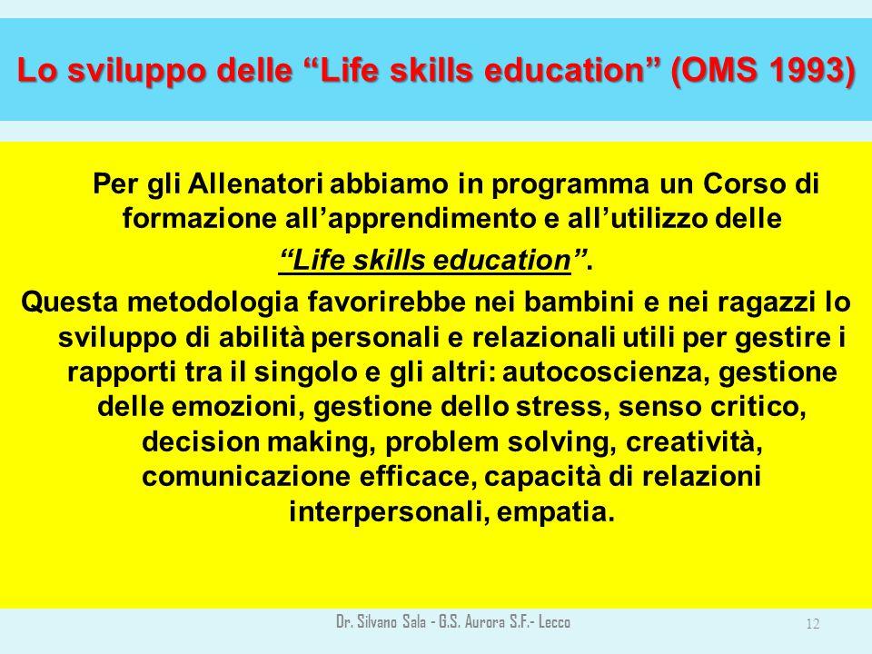 Lo sviluppo delle Life skills education (OMS 1993)