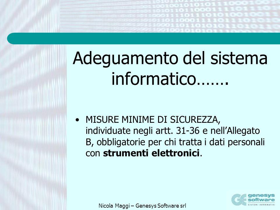 Adeguamento del sistema informatico…….