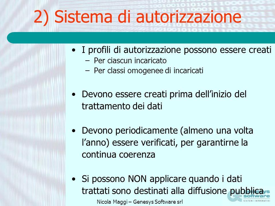 2) Sistema di autorizzazione