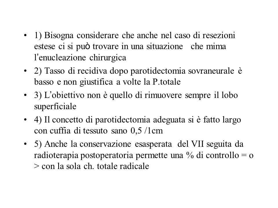 1) Bisogna considerare che anche nel caso di resezioni estese ci si può trovare in una situazione che mima l'enucleazione chirurgica