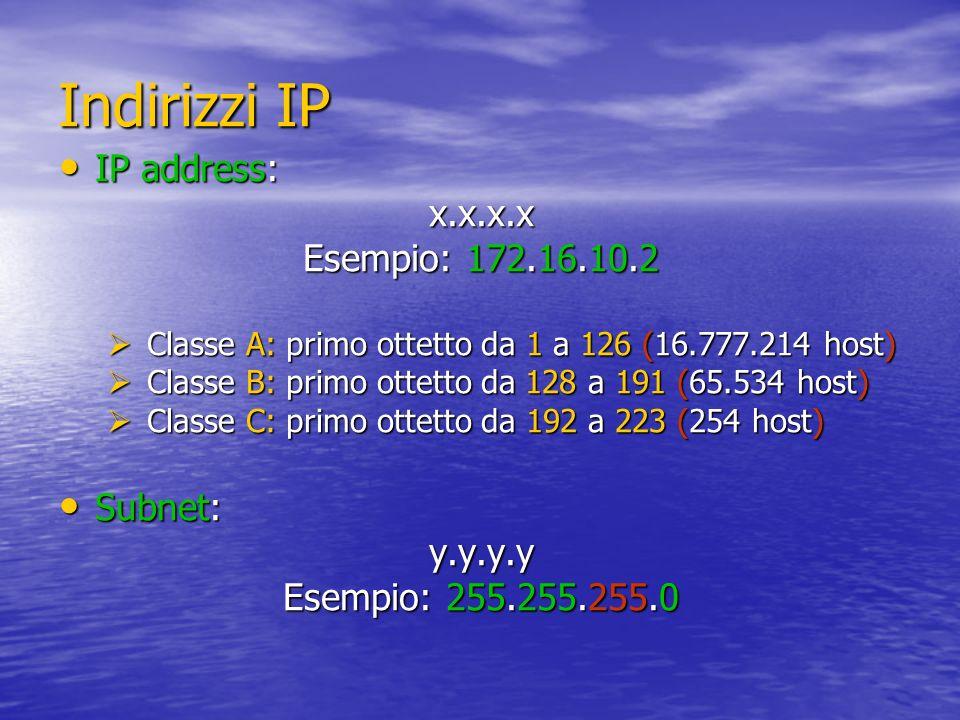Indirizzi IP IP address: x.x.x.x Esempio: 172.16.10.2 Subnet: y.y.y.y