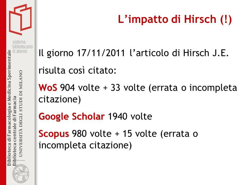 L'impatto di Hirsch (!) Il giorno 17/11/2011 l'articolo di Hirsch J.E.
