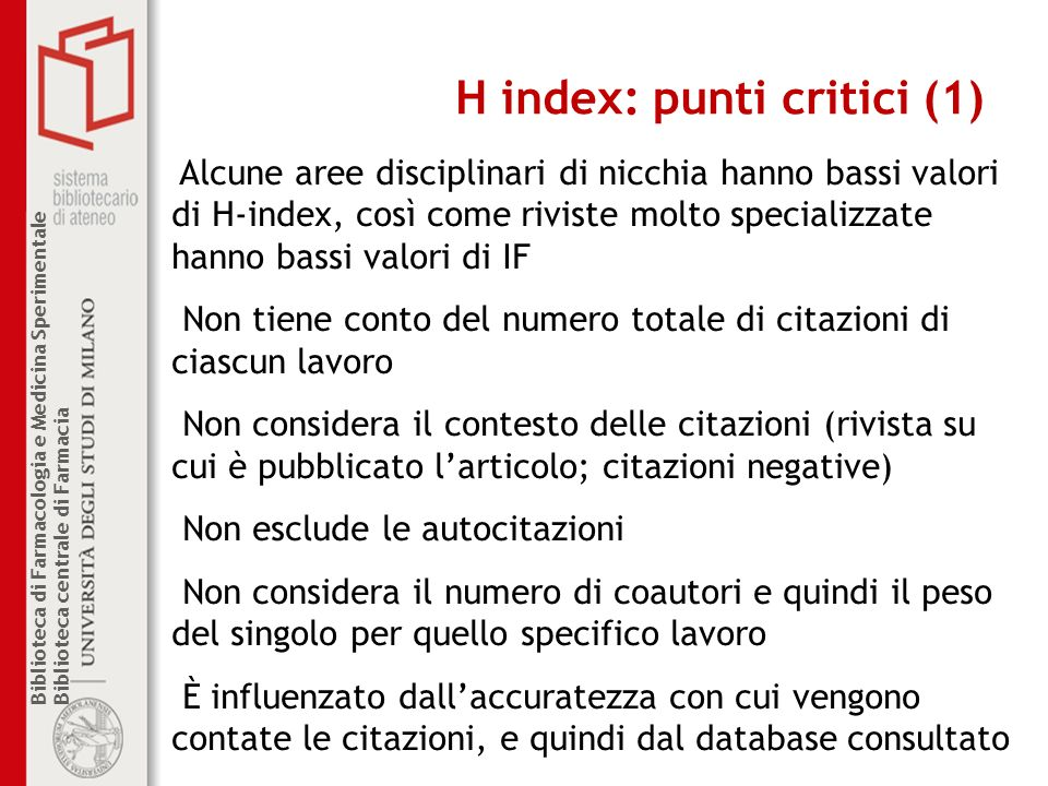H index: punti critici (1)
