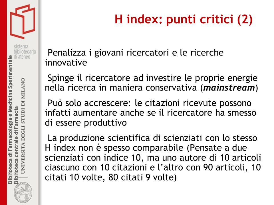 H index: punti critici (2)