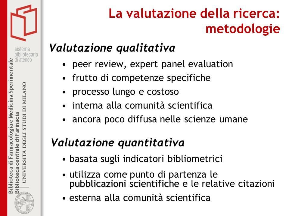 La valutazione della ricerca: metodologie