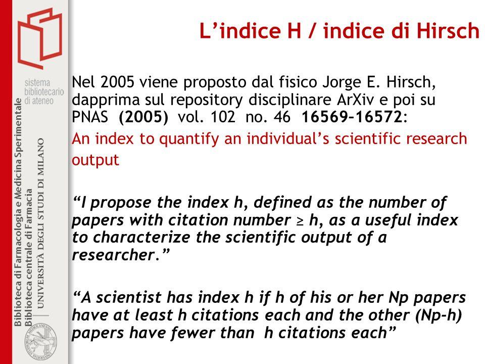 L'indice H / indice di Hirsch