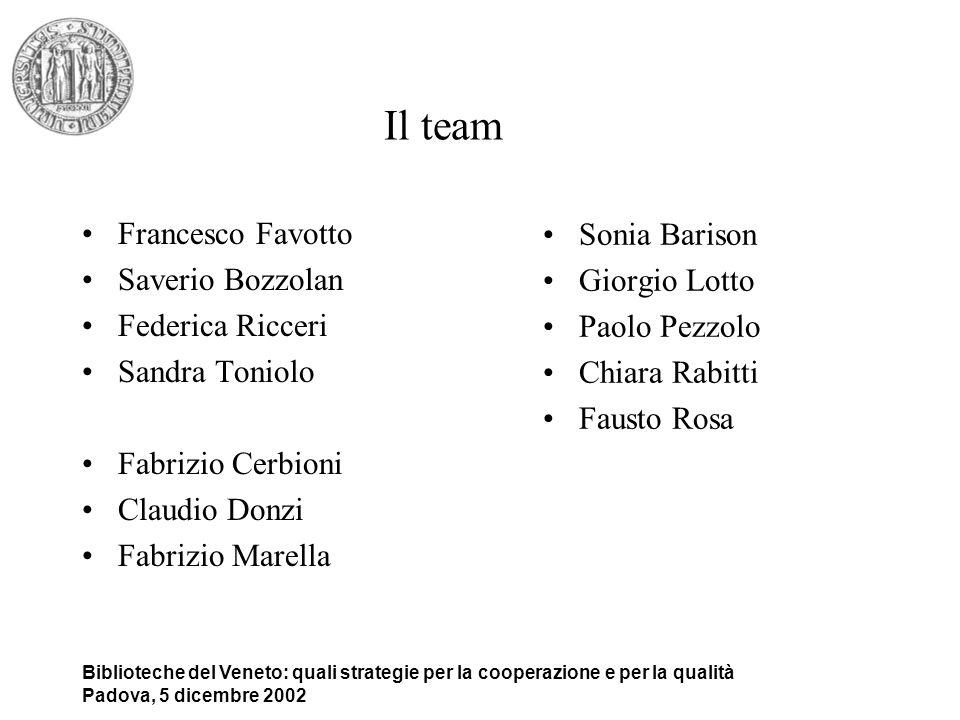 Il team Francesco Favotto Sonia Barison Saverio Bozzolan Giorgio Lotto