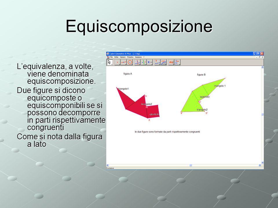 Equiscomposizione L'equivalenza, a volte, viene denominata equiscomposizione.