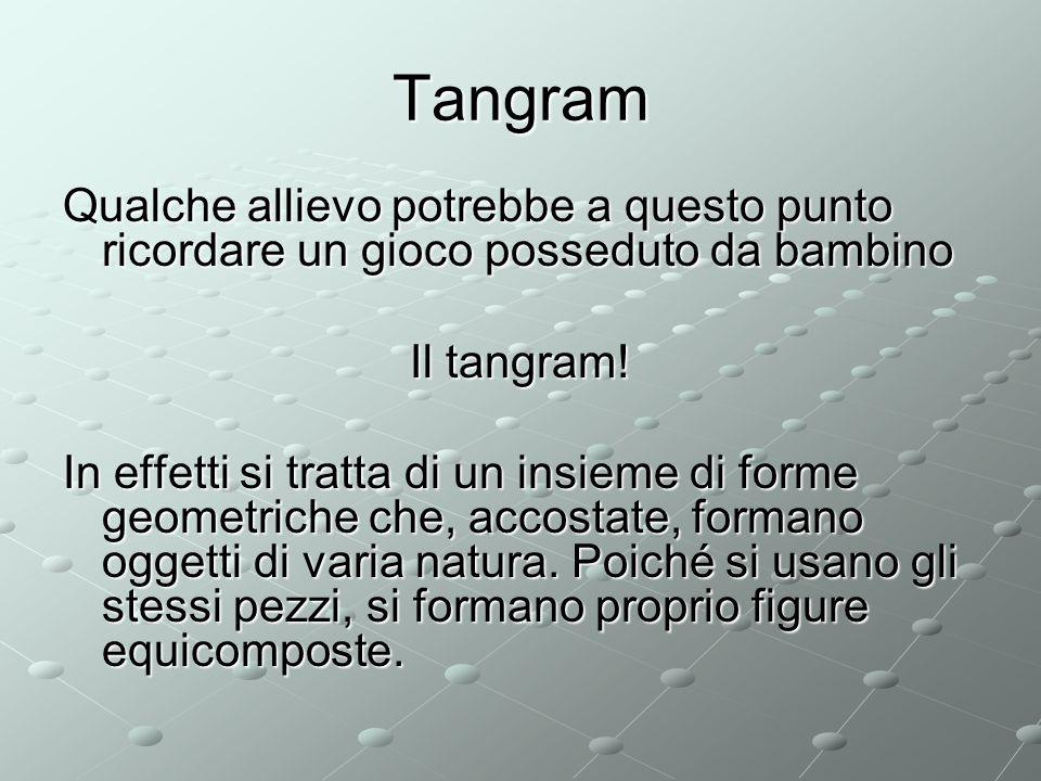 Tangram Qualche allievo potrebbe a questo punto ricordare un gioco posseduto da bambino. Il tangram!