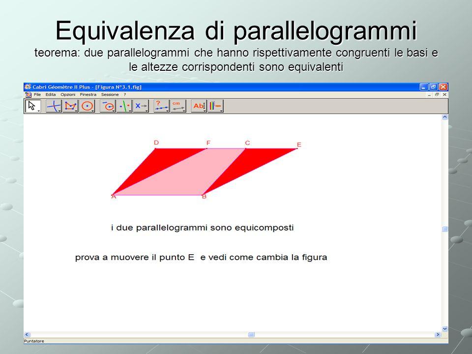 Equivalenza di parallelogrammi teorema: due parallelogrammi che hanno rispettivamente congruenti le basi e le altezze corrispondenti sono equivalenti