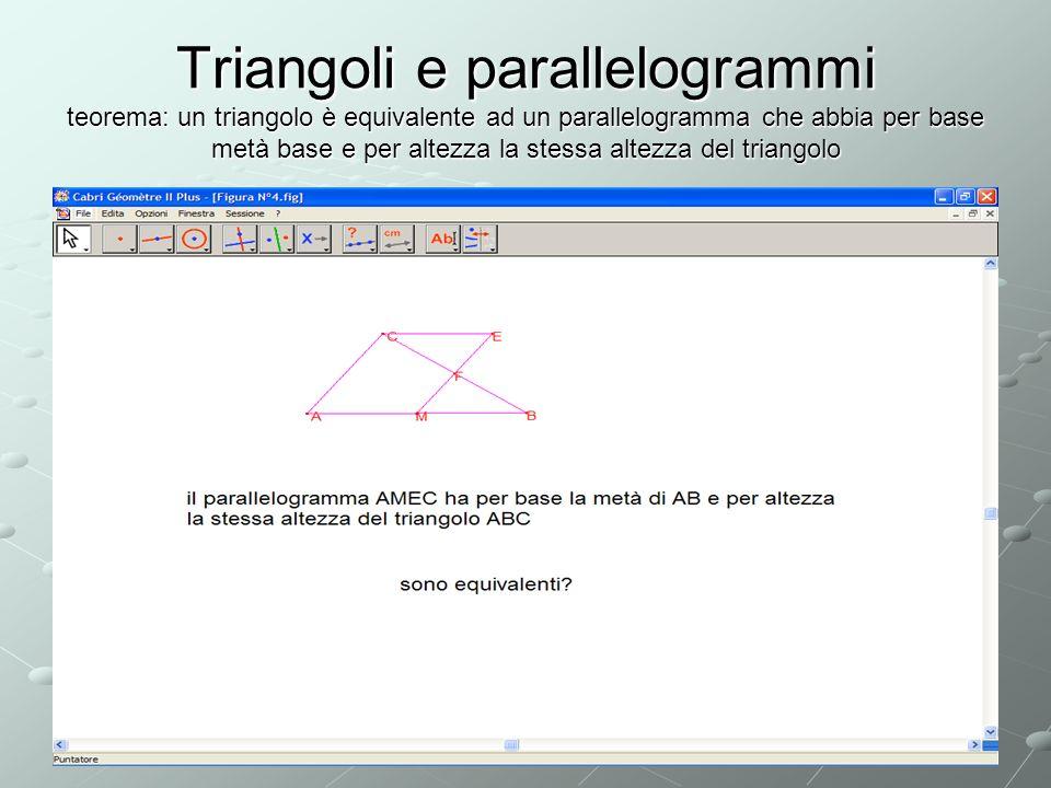Triangoli e parallelogrammi teorema: un triangolo è equivalente ad un parallelogramma che abbia per base metà base e per altezza la stessa altezza del triangolo