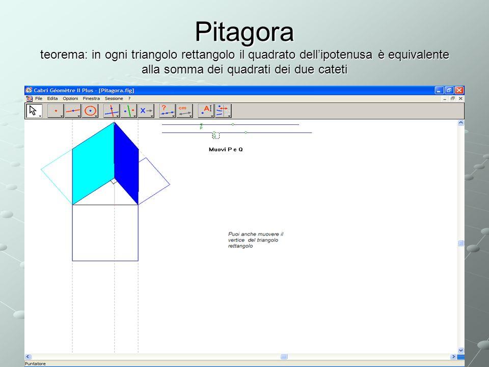 Pitagora teorema: in ogni triangolo rettangolo il quadrato dell'ipotenusa è equivalente alla somma dei quadrati dei due cateti