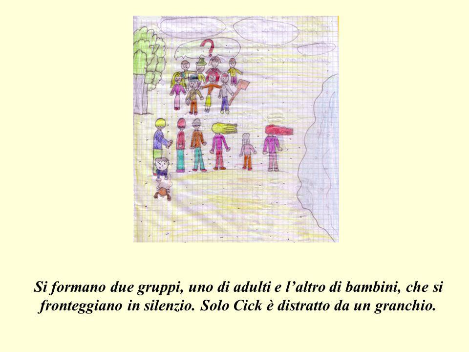Si formano due gruppi, uno di adulti e l'altro di bambini, che si fronteggiano in silenzio.