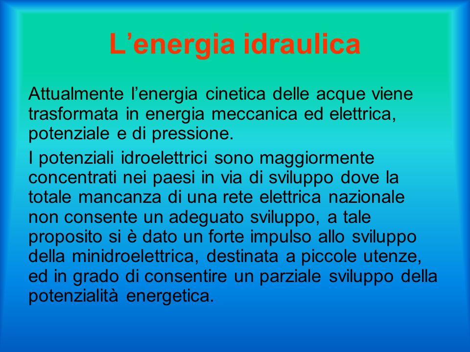 L'energia idraulica Attualmente l'energia cinetica delle acque viene trasformata in energia meccanica ed elettrica, potenziale e di pressione.