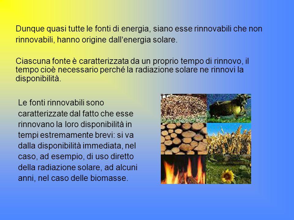 Dunque quasi tutte le fonti di energia, siano esse rinnovabili che non rinnovabili, hanno origine dall'energia solare.
