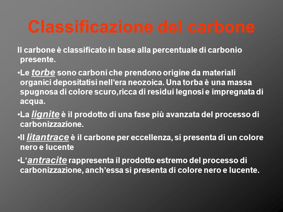 Classificazione del carbone