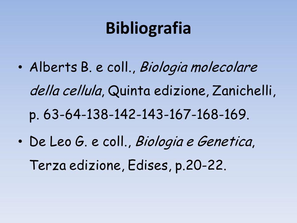 Bibliografia Alberts B. e coll., Biologia molecolare della cellula, Quinta edizione, Zanichelli, p. 63-64-138-142-143-167-168-169.