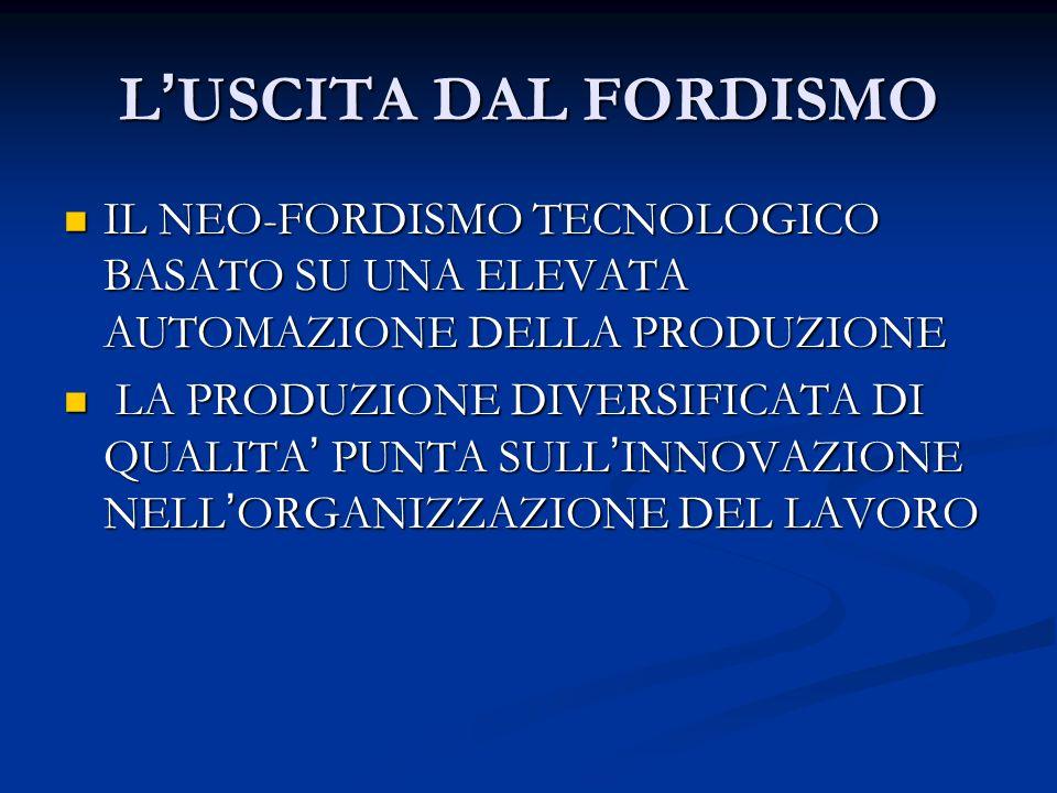 L'USCITA DAL FORDISMO IL NEO-FORDISMO TECNOLOGICO BASATO SU UNA ELEVATA AUTOMAZIONE DELLA PRODUZIONE.