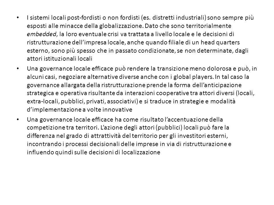 I sistemi locali post-fordisti o non fordisti (es
