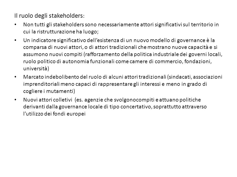 Il ruolo degli stakeholders: