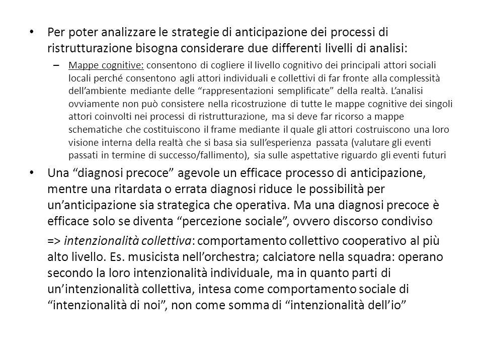Per poter analizzare le strategie di anticipazione dei processi di ristrutturazione bisogna considerare due differenti livelli di analisi: