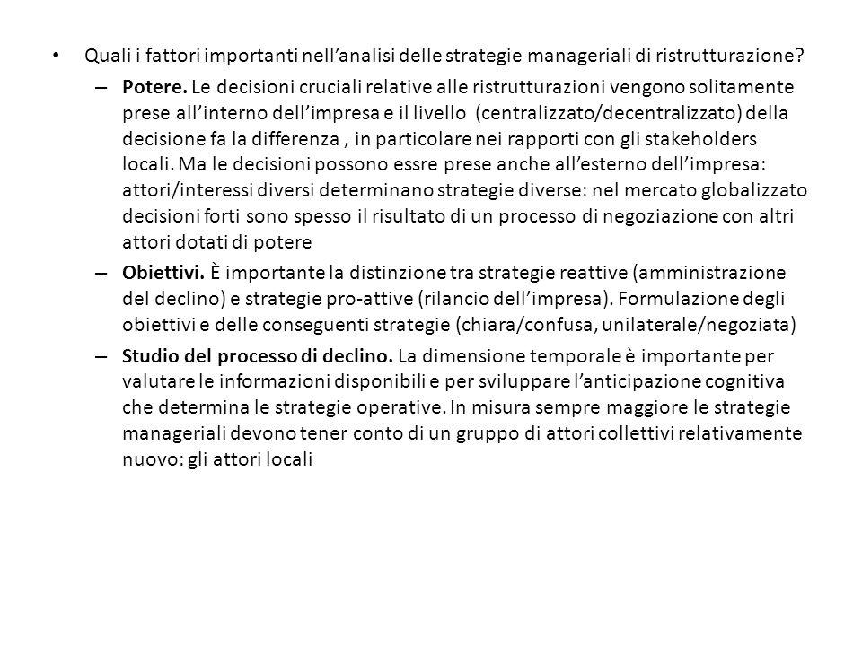 Quali i fattori importanti nell'analisi delle strategie manageriali di ristrutturazione