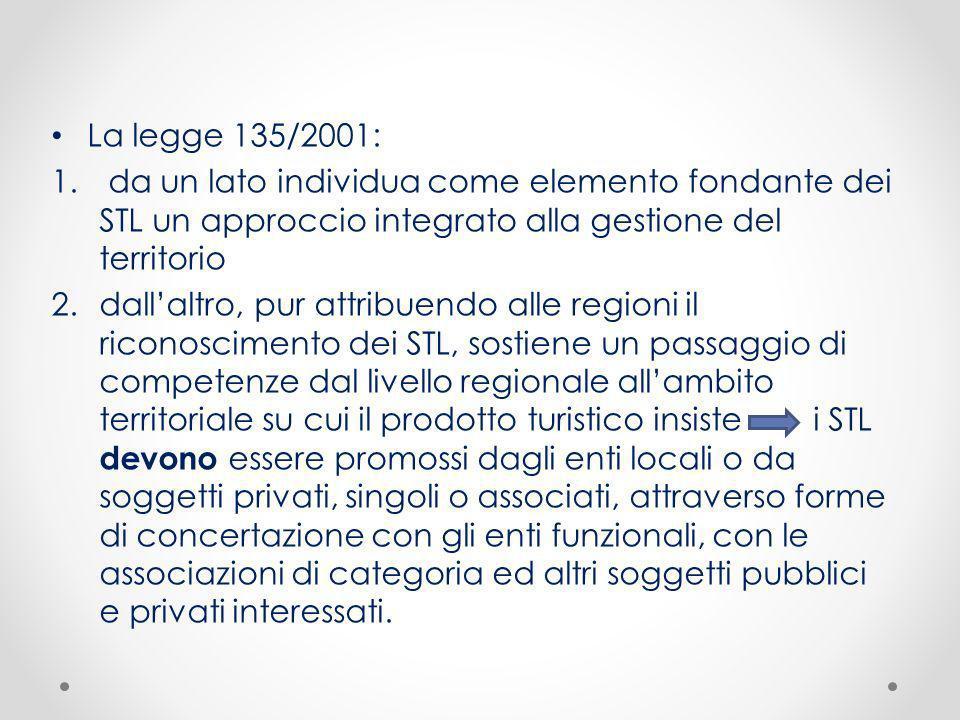 La legge 135/2001: da un lato individua come elemento fondante dei STL un approccio integrato alla gestione del territorio.