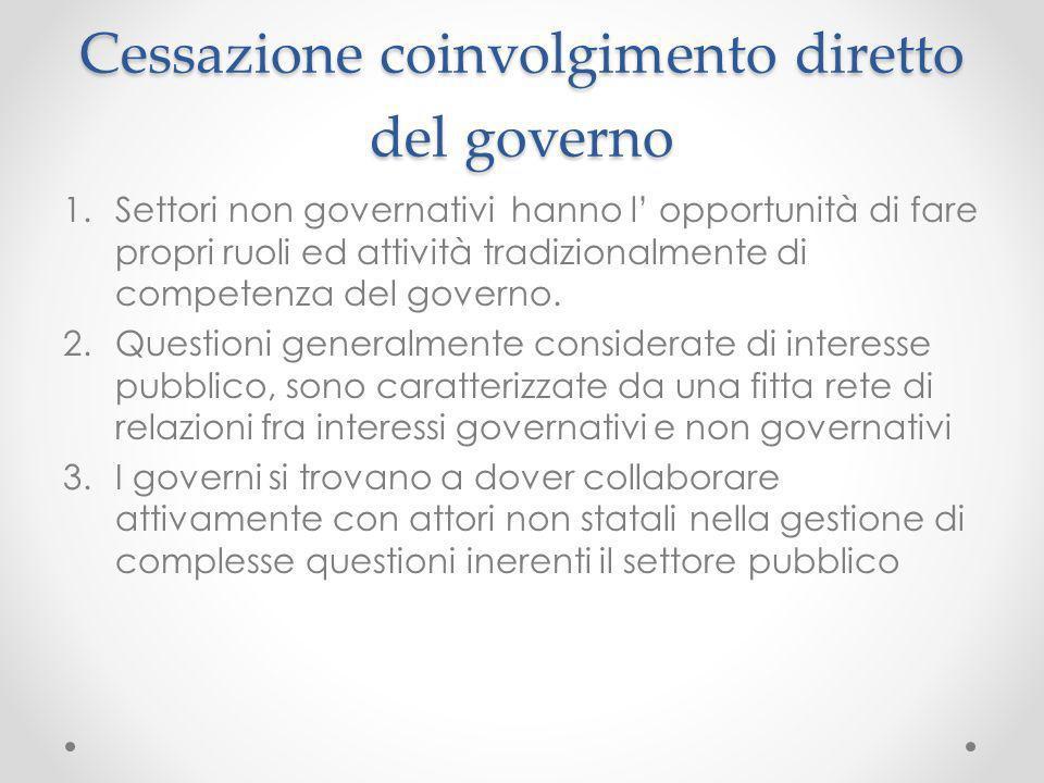 Cessazione coinvolgimento diretto del governo