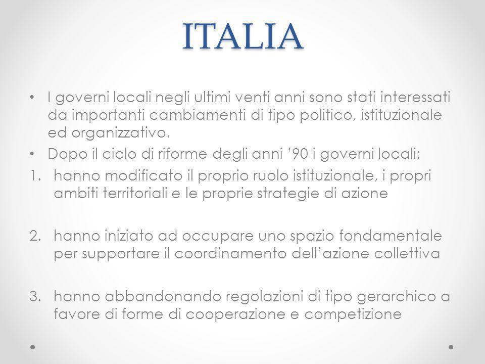 ITALIA I governi locali negli ultimi venti anni sono stati interessati da importanti cambiamenti di tipo politico, istituzionale ed organizzativo.