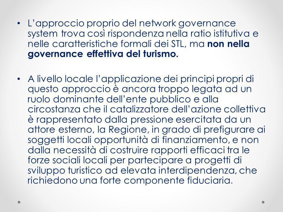 L'approccio proprio del network governance system trova così rispondenza nella ratio istitutiva e nelle caratteristiche formali dei STL, ma non nella governance effettiva del turismo.
