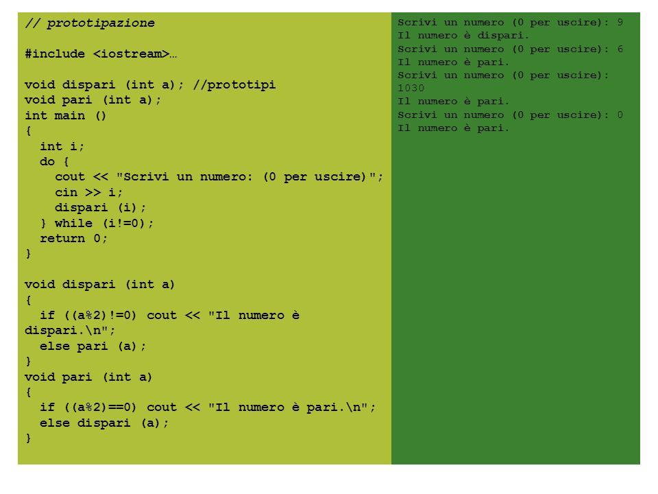// prototipazione #include <iostream>… void dispari (int a); //prototipi