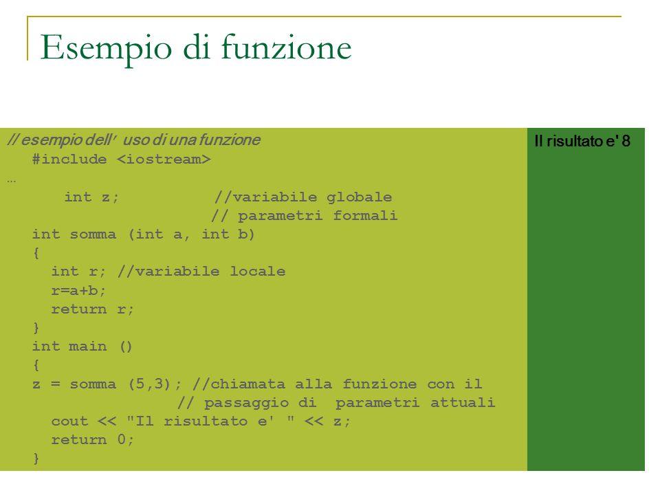 Esempio di funzione // esempio dell' uso di una funzione #include <iostream> …