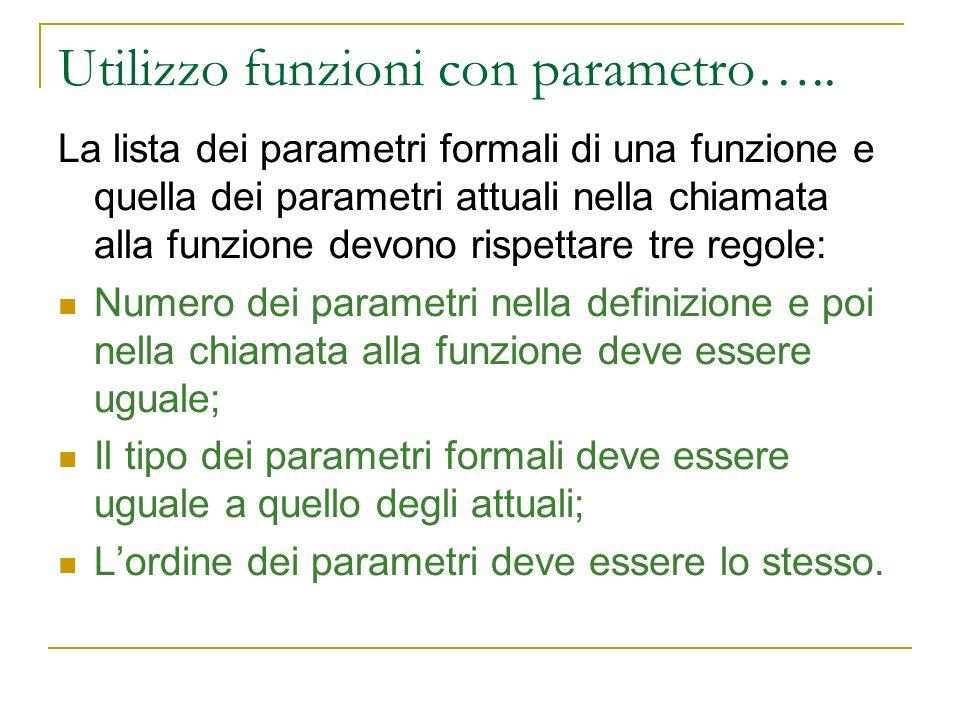 Utilizzo funzioni con parametro…..