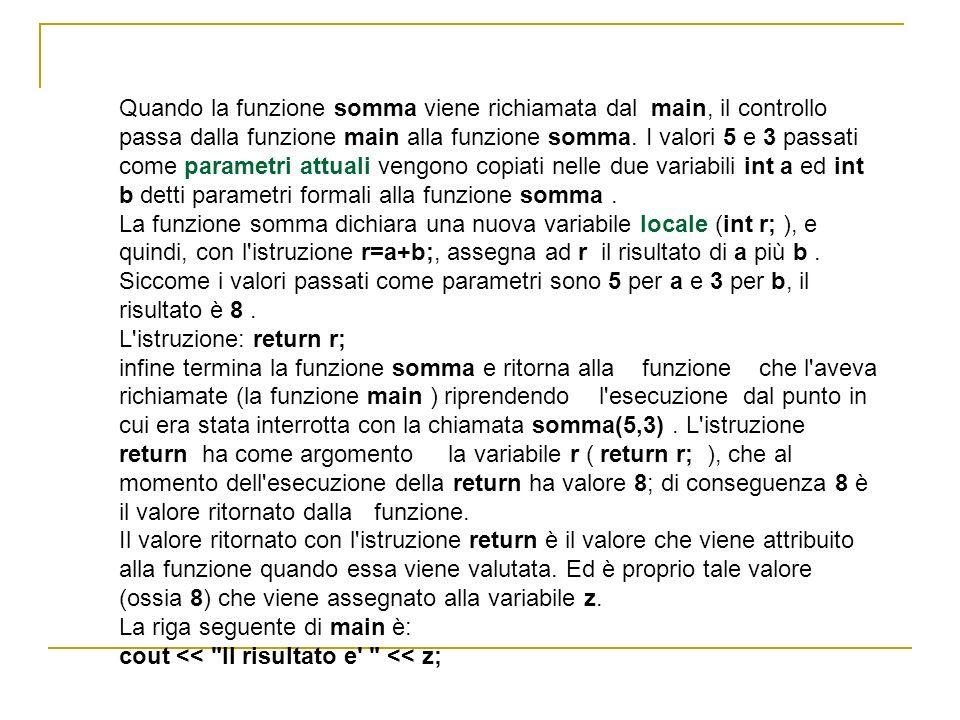 Quando la funzione somma viene richiamata dal main, il controllo passa dalla funzione main alla funzione somma. I valori 5 e 3 passati come parametri attuali vengono copiati nelle due variabili int a ed int b detti parametri formali alla funzione somma .