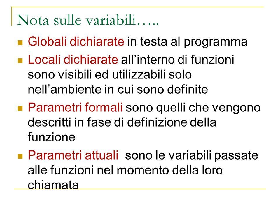 Nota sulle variabili….. Globali dichiarate in testa al programma