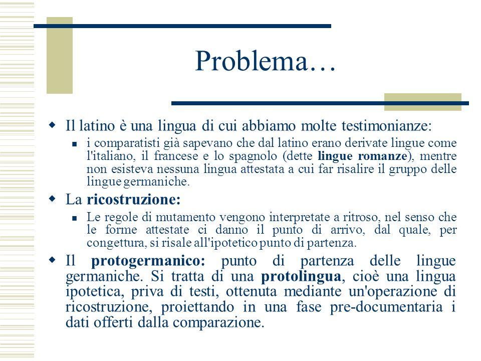 Problema… Il latino è una lingua di cui abbiamo molte testimonianze: