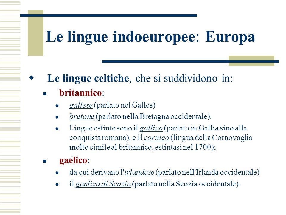 Le lingue indoeuropee: Europa