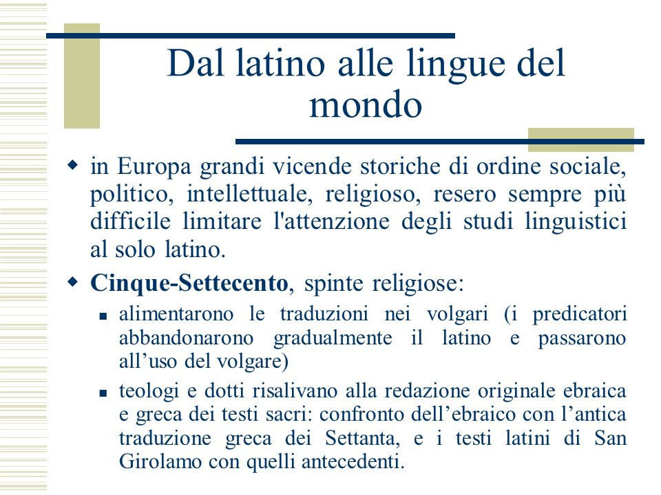 Dal latino alle lingue del mondo