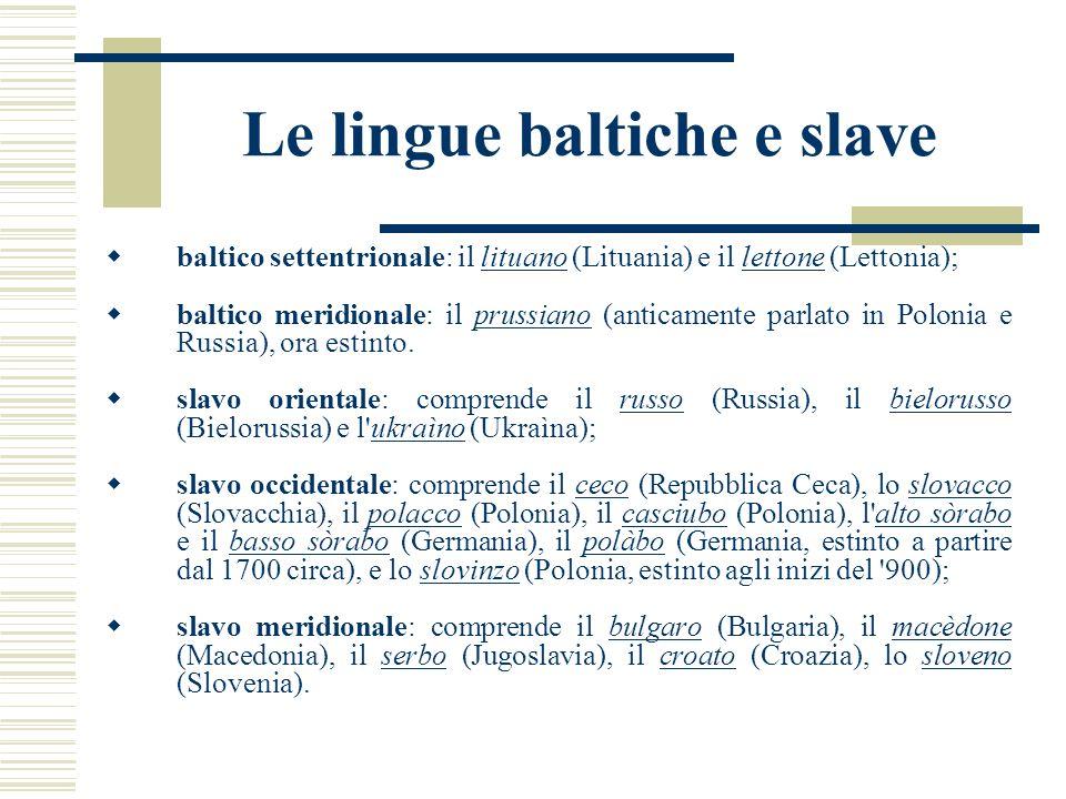 Le lingue baltiche e slave