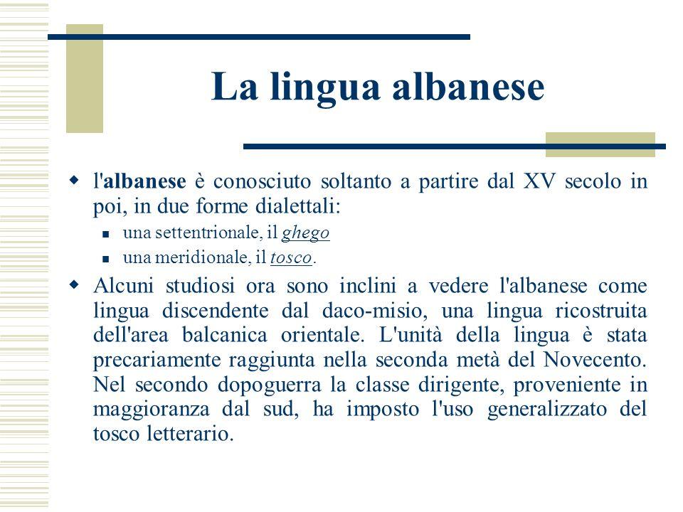 La lingua albanese l albanese è conosciuto soltanto a partire dal XV secolo in poi, in due forme dialettali: