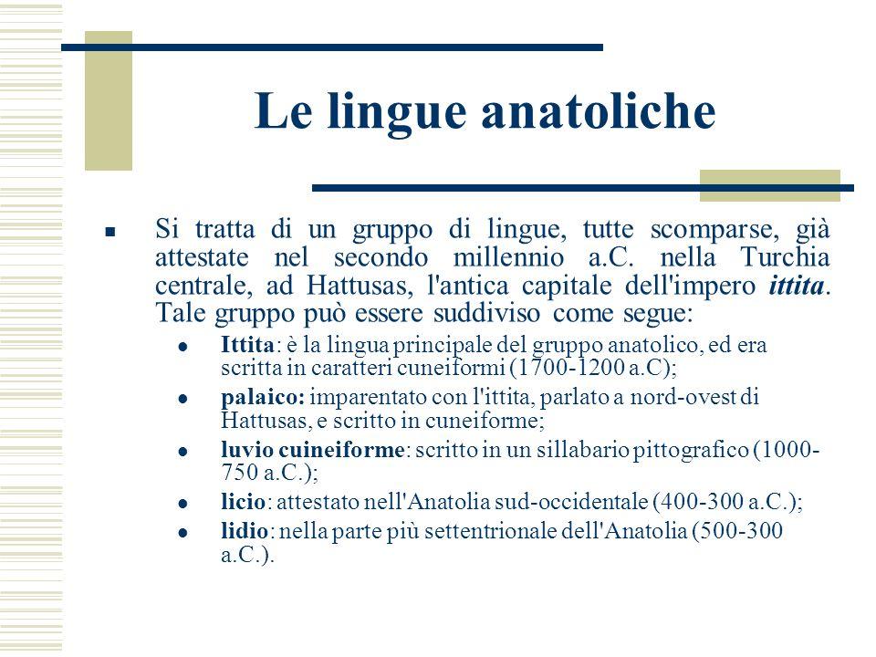 Le lingue anatoliche