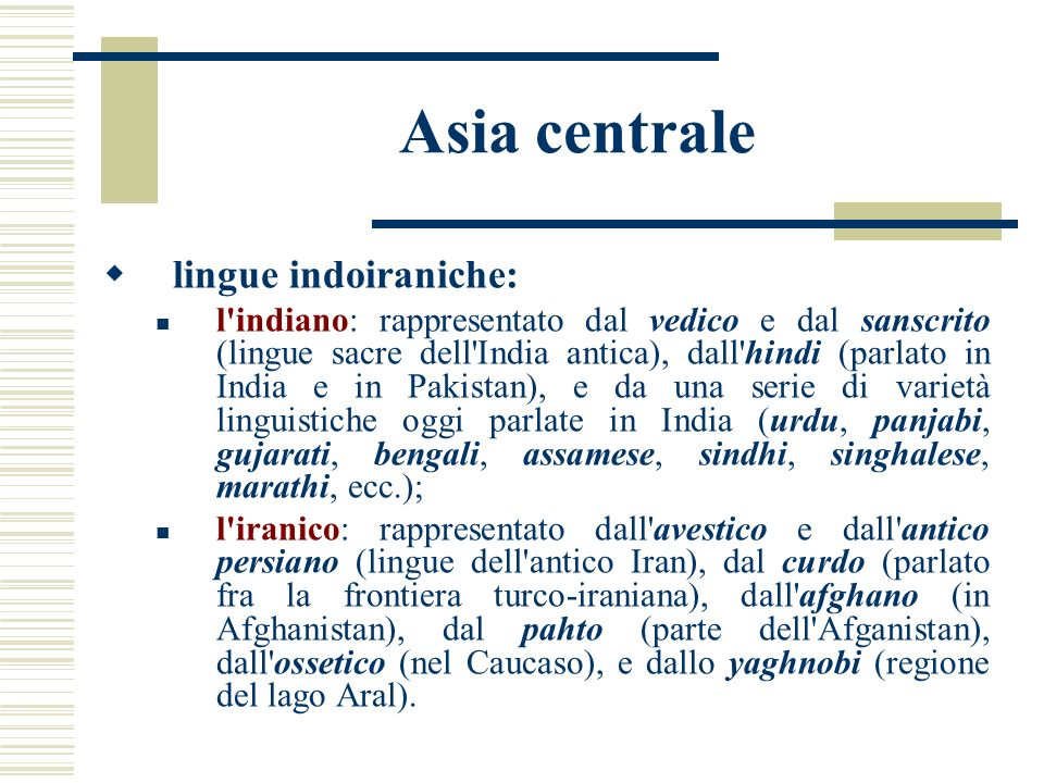 Asia centrale lingue indoiraniche: