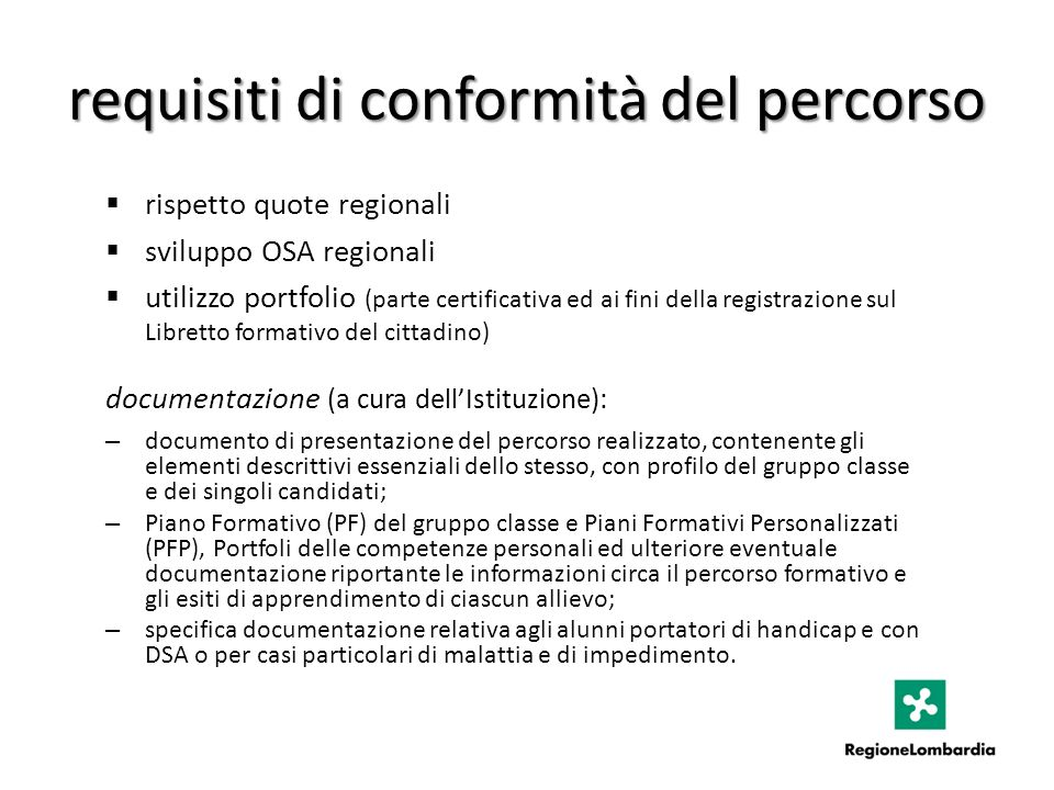 requisiti di conformità del percorso