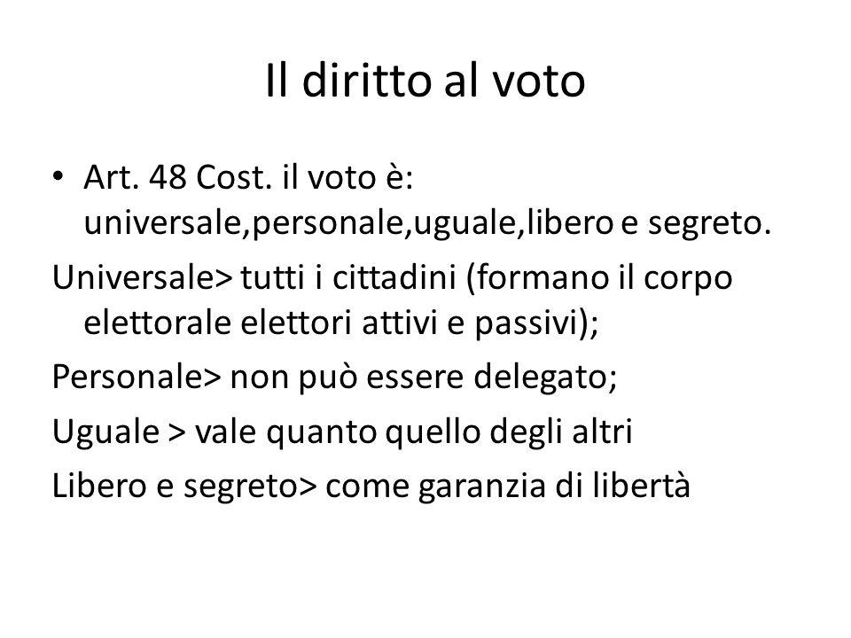 Il diritto al voto Art. 48 Cost. il voto è: universale,personale,uguale,libero e segreto.