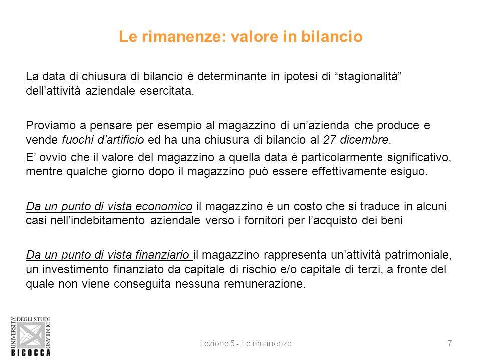 Le rimanenze: valore in bilancio