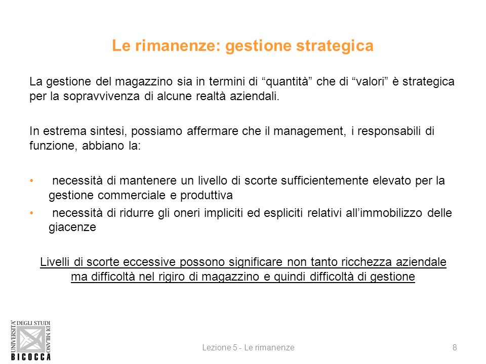 Le rimanenze: gestione strategica