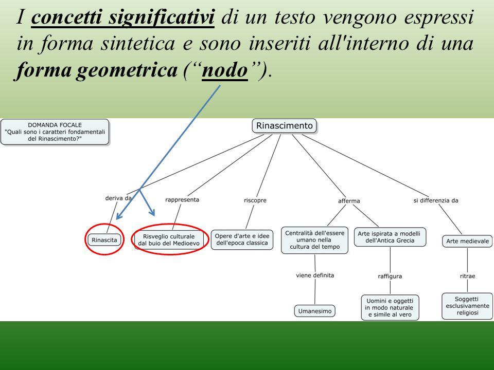 I concetti significativi di un testo vengono espressi in forma sintetica e sono inseriti all interno di una forma geometrica ( nodo ).