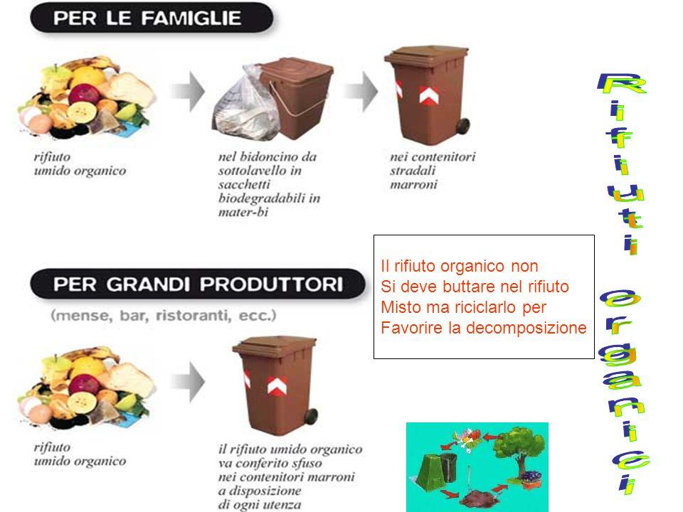 Rifiuti organici Il rifiuto organico non Si deve buttare nel rifiuto