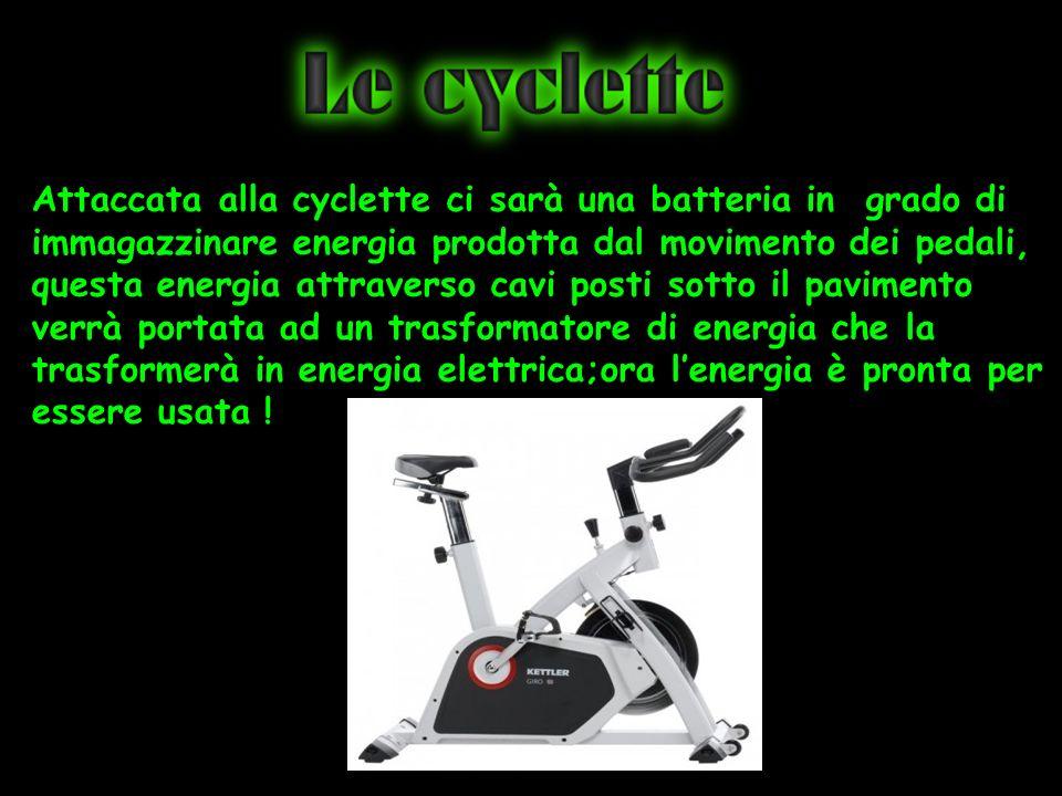 Attaccata alla cyclette ci sarà una batteria in grado di immagazzinare energia prodotta dal movimento dei pedali, questa energia attraverso cavi posti sotto il pavimento verrà portata ad un trasformatore di energia che la trasformerà in energia elettrica;ora l'energia è pronta per essere usata !