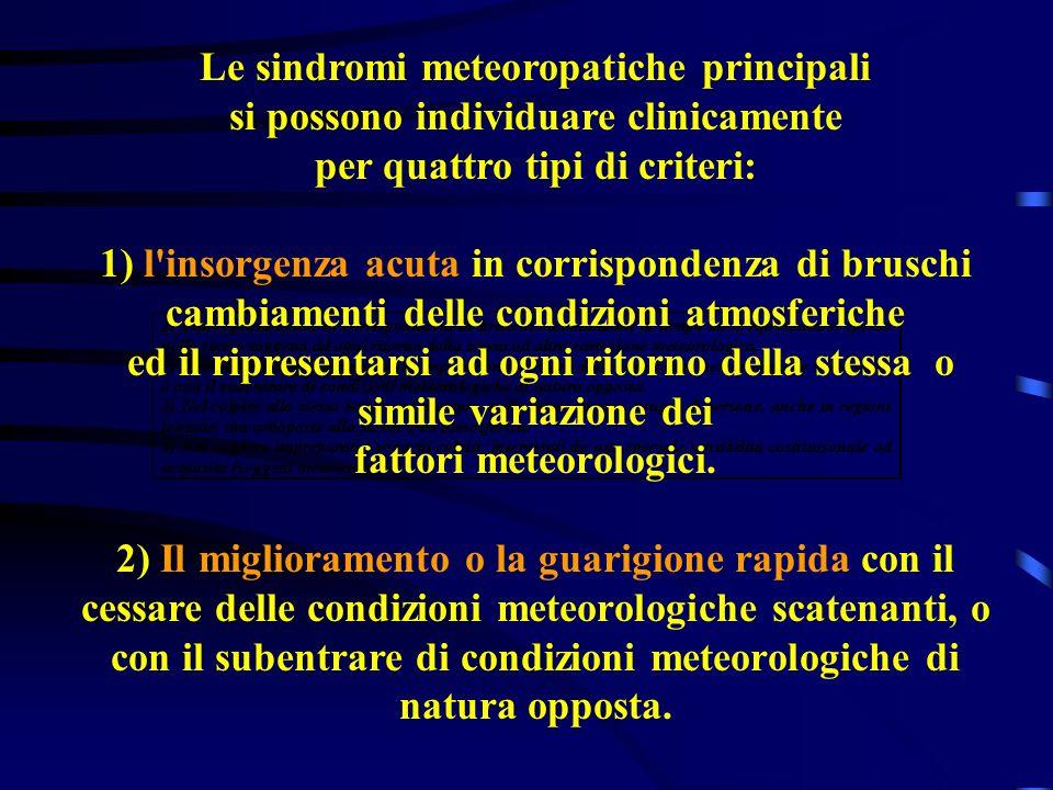 Le sindromi meteoropatiche principali